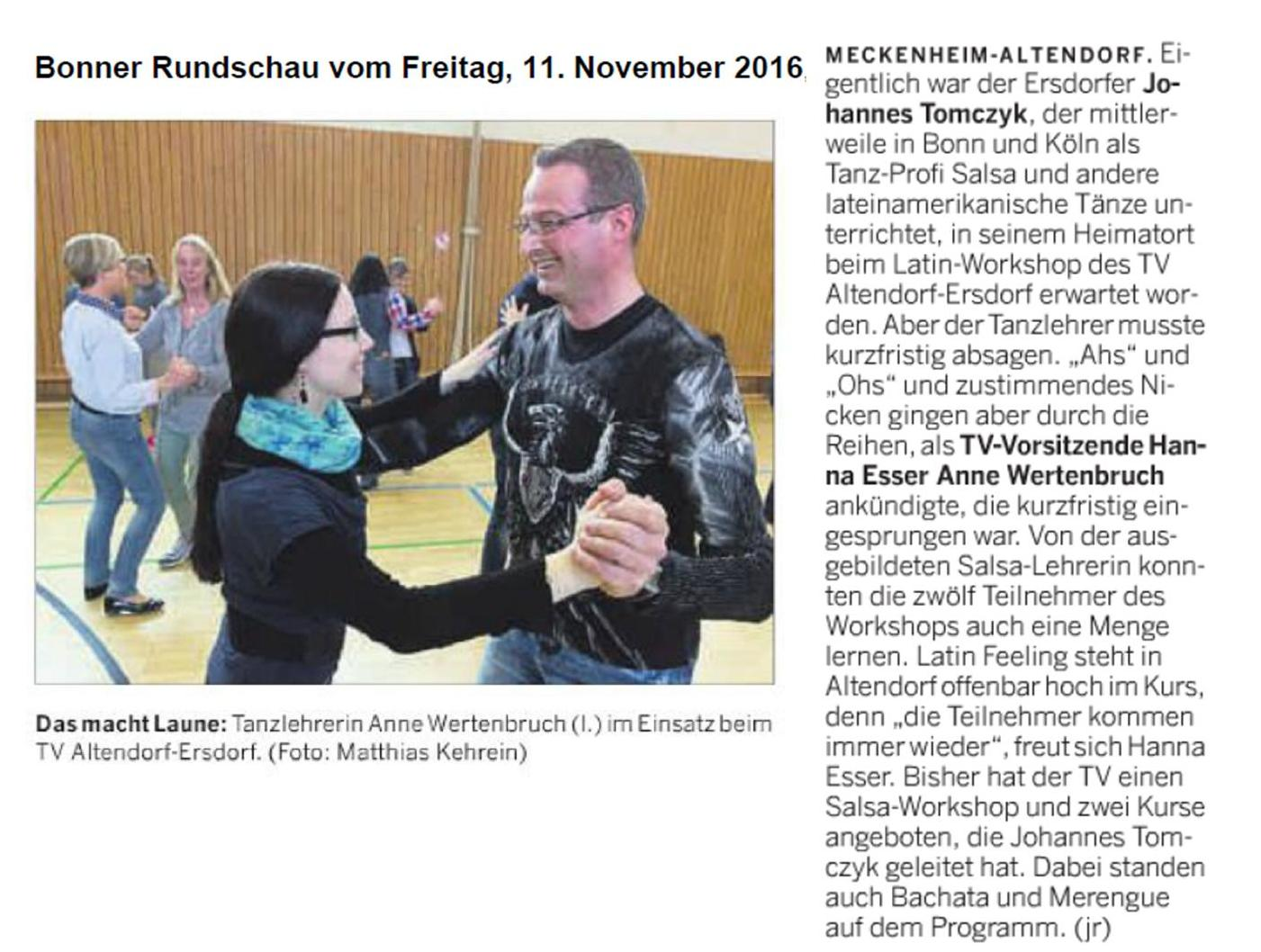 artikel bonner rundschau 11.11.2016 workshop latin feeling